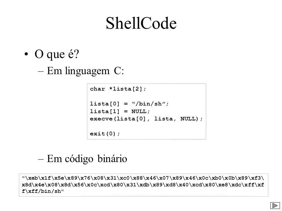 ShellCode O que é Em linguagem C: Em código binário char *lista[2];